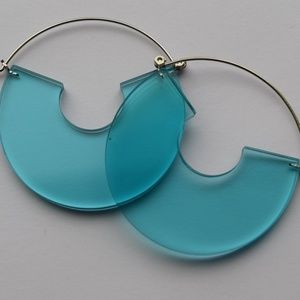 Blue Translucent Hoop Earrings